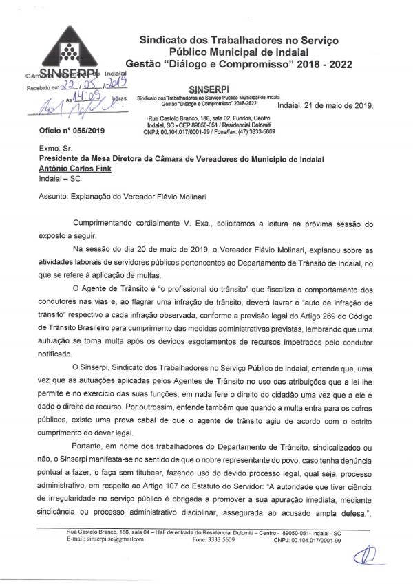 Ofício nº 055/2019