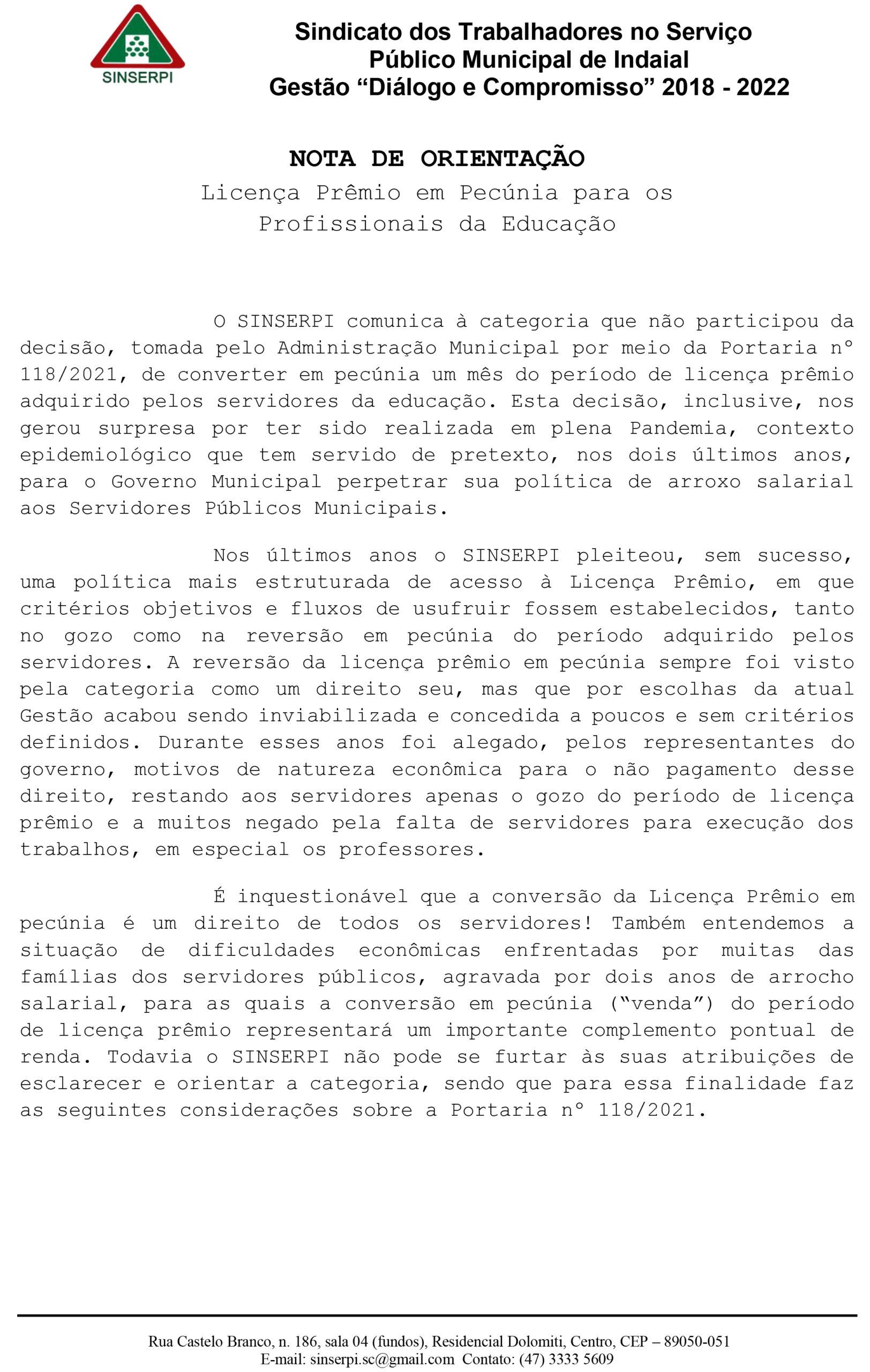 NOTA DE ORIENTAÇÃO –  Licença Prêmio em Pecúnia para os Profissionais da Educação.
