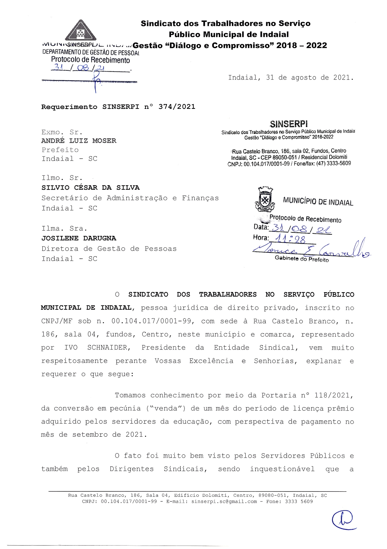 SINDICATO EM AÇÃO! SINSERPI requer igualdade de pagamento da conversão em pecúnia de um mês do período de licença prêmio para todos os Servidores Púbicos Municipais.
