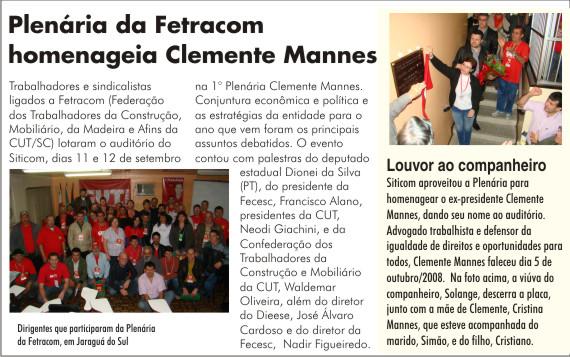 Plenária da Fetracon homenageia Clemente Mannes