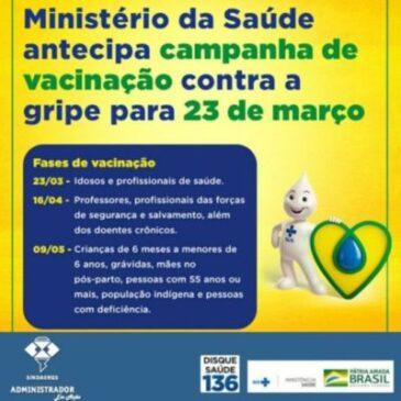 Ministério da Saúde antecipa Campanha de Vacinação Contra Gripe 2020