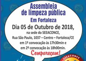 É hoje (05/10): assembleia da categoria de limpeza pública