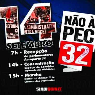 Sindiquinze participa da mobilização contra a PEC 32 a partir desta terça em Brasília