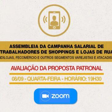Assembleia da campanha salarial para trabalhadores de shoppings e lojas de rua